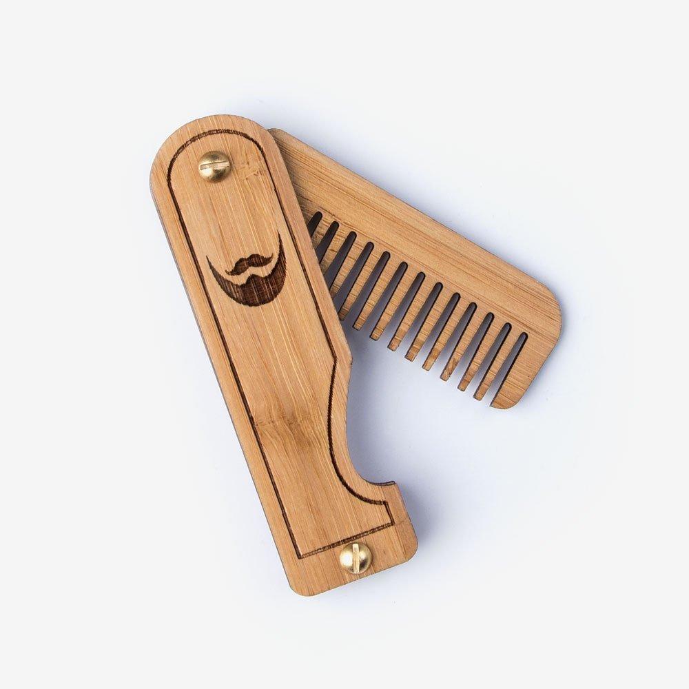Folding Wood Beard Comb - Bamboo