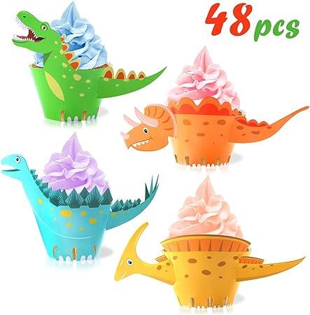 Amazon.com: Envoltorios para cupcakes de dinosaurio (48 ...