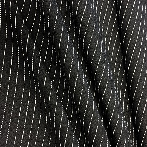 Premium Quality Pinstripe Suiting Woven Fabric by the yard - Black - 1 Yard