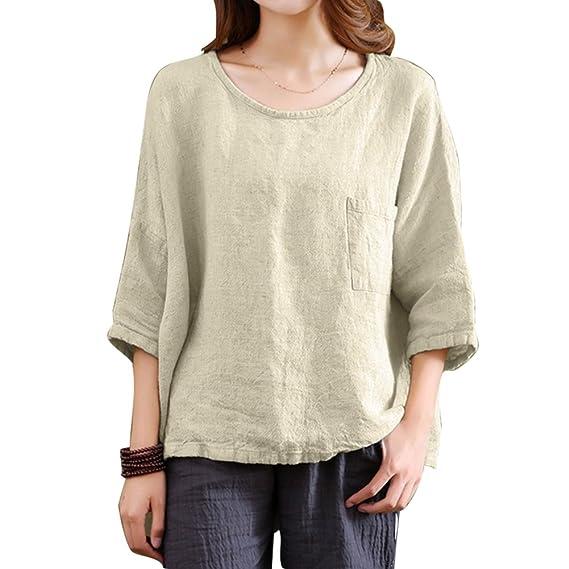 Juleya Mujer Cuello Redondo Camisetas - Manga 3/4 Camisa Oversize T-Shirt Suelto