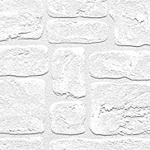 "Manhattan comfort NW48915 Andrew Series Vinyl Textured Paintable Bricks Design Large Wallpaper Roll, 21"" W x 33' L, White"