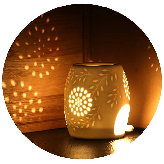 ecooe Aromalampe Duftlampe aus Keramik weiß mit der Candle Löffel Aroma Diffuser