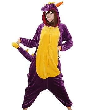 Dragón púrpura hombres adultos Mujeres Unisex Kigurumi traje de Cosplay pijama Pelele Animal ytrineo Nonopnd siegner