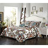 4pc Red White Orange Aqua Blue Queen Quilt Set, Bohemian Themed Bedding Boho Paisley Floral Flower Ivory Vintage Retro Medallion Hippie Antique Vibrant Colorful, Microfiber