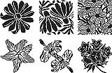 Cedar Canyon Textiles Text CCT4004 Plastic Artist's Paintstiks Rubbing Plate, Garden Flower, 6-Pack