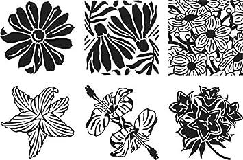 Cedar Canyon Textiles CCT4005 Artist's Paintstiks Rubbing Plates, Floral Fantasy, 6-Pack