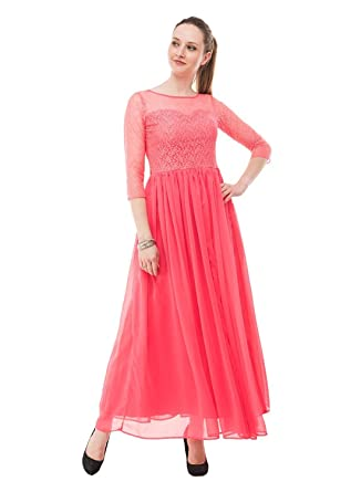 02d22d8fcc Indian Women Stylish Dress Georgette Evening Gown Wedding Party Maxi Dress  S-XXL