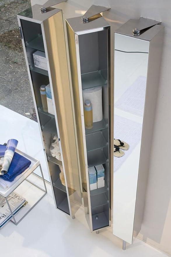ondyna cristina colonne de salle de bain armoire inox tournante 6 etageres avec miroir