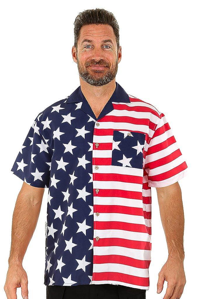 1bb2ac5349a UZZI Men s American Flag Hawaiian Shirt at Amazon Men s Clothing store