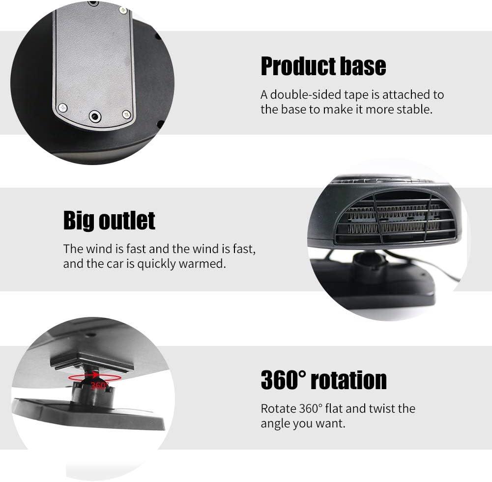 12 V Chauffage Voiture Ventilateur 200W MoreChioce 2 en 1 Chauffage de Ventilateur de Refroidissement Portable Chauffage De Voiture D/égivreur avec Support Rotatif /à 360/°