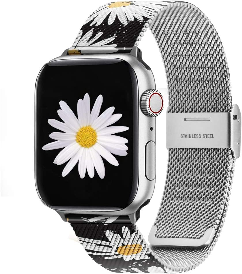 BLOTOW Compatible with Apple Watch Band 38mm 40mm 42mm 44mm, Floral Pattern Stainless Steel Mesh Wristband Loop Replacement Band for iWatch Series SE 6 5 4 3 2 1