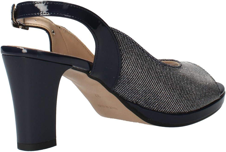 Valleverde Sandalo Donna Sintetico 28340 Platino o Nero o Silver Primavera Estate 2020 Una Calzatura Comoda Adatta per Tutte Le Occasioni