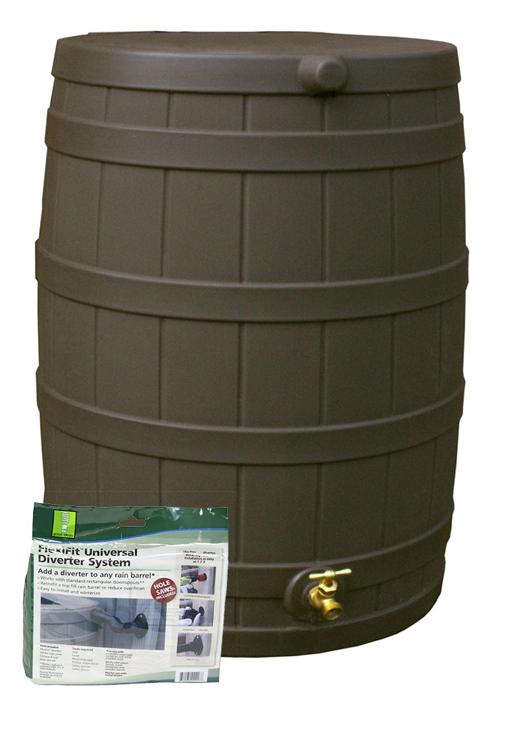 Good Ideas RW50-DIV-OAK Rain Wizard Rain Barrel 50-Gallon Diverter Kit, Oak by Good Ideas