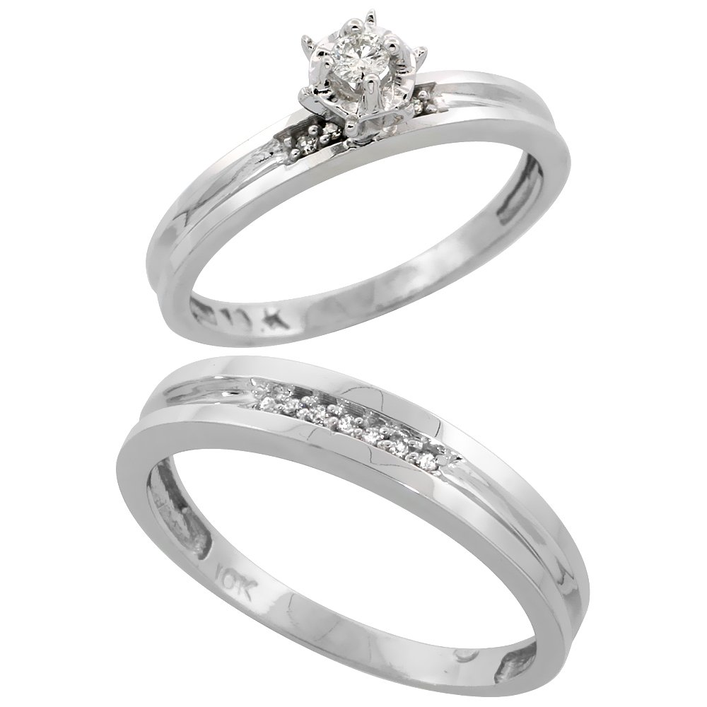 Sterling Silver 2-Piece Diamond Engagement Ring Set for Him and Her Rhodium finish, 3.5 & 4mm, Size 7.5