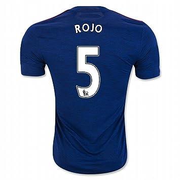 2016 2017 Manchester United FC Camiseta de 5 marcos rojo Away fútbol fútbol Jersey de flores en azul, hombre, azul, XL: Amazon.es: Deportes y aire libre