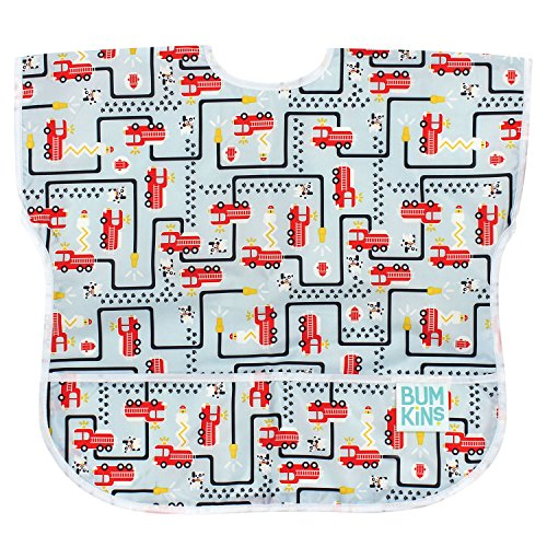 Bumkins Baby Toddler Bib, Waterproof Junior Bib, Fire Engine (1-3 Years) by Bumkins