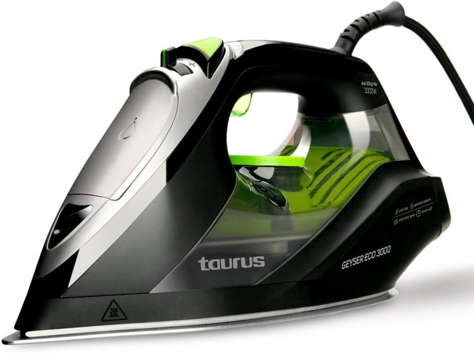 Taurus Geyser Eco 3000 Plancha Vapor, W, Suela anodizada ultradesliante, Negro