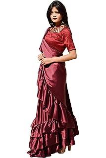 25ae85a34a03e5 Raawan Women s Firozi Ruffle Pattern Silk Saree With Blouse Piece ...