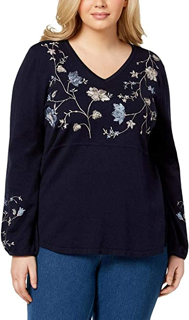 Style /& Co 1X Top Womens Blue Embroidered Peasant Shirt Plus Size MSRP $70