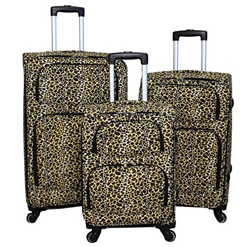 World Traveler 3 Piece Expandable Upright Spinner Luggage Set, Leopard, One Size