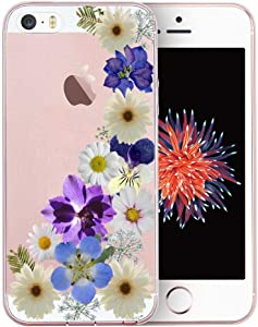 Unov Case for iPhone SE (2016) iPhone 5s iPhone 5 Clear with Design Embossed Pattern TPU Soft Bumper Shock Absorption Slim Protective Back Cover 4 Inch (Flower Blossom)