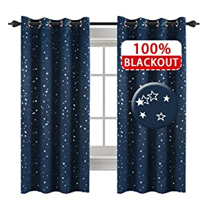 H.VERSAILTEX Full Blackout Thermal Insulated Curtain Panels Star Curtains for Boys Room Grommet Star Curtains for Kids Room, 52 x 63 - Inch - 1 Panel