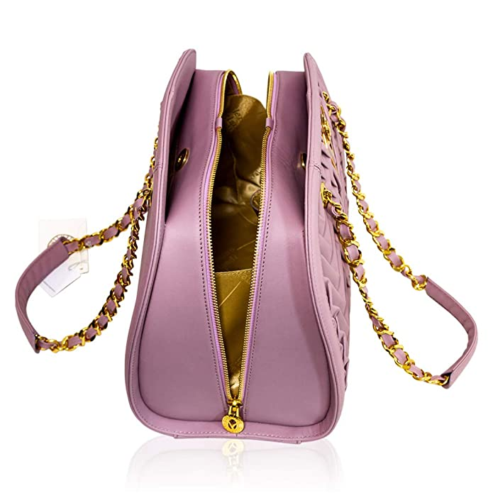 6ecdf7545e Amazon.com: Valentino Orlandi Italian Designer Pink Pleated Draped Leather  Bowling Bag W/Chain: Shoes