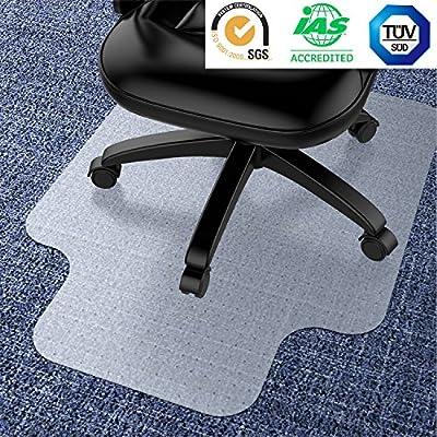 Under Desk Chair Mat (Transparent) Large, Vinyl Floor Protector for Low-Pile Carpets, Hardwood Flooring | Non-Slip Bottom, Heavy-Duty | Home, Office, Computer