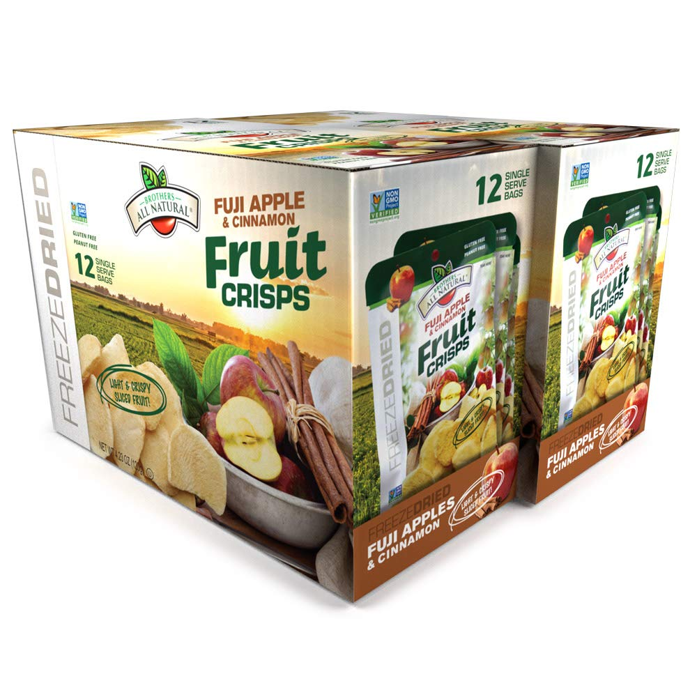Brothers-ALL-Natural Fruit Crisps, Fuji Apple & Cinnamon, 0.35 Ounce Bags, 12 count,(Pack of 2)
