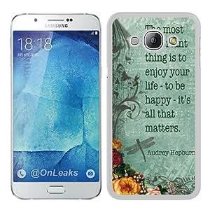 Best Buy AUdrey Hepburn Quote ENjoy Life Vintage White Popular Custom Samsung Galaxy A8 Case