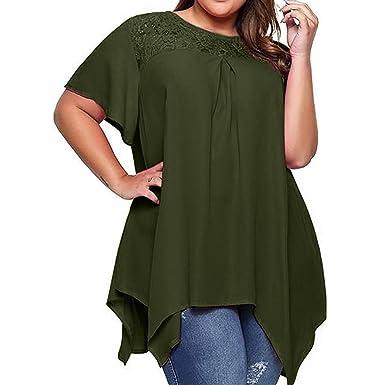 570f16625ca5 Amphia Übergröße Bluse,Damen Plus Size Tops Casual Loose Longshirts  Asymmetrische Chiffon Säume Übergröße Oversize