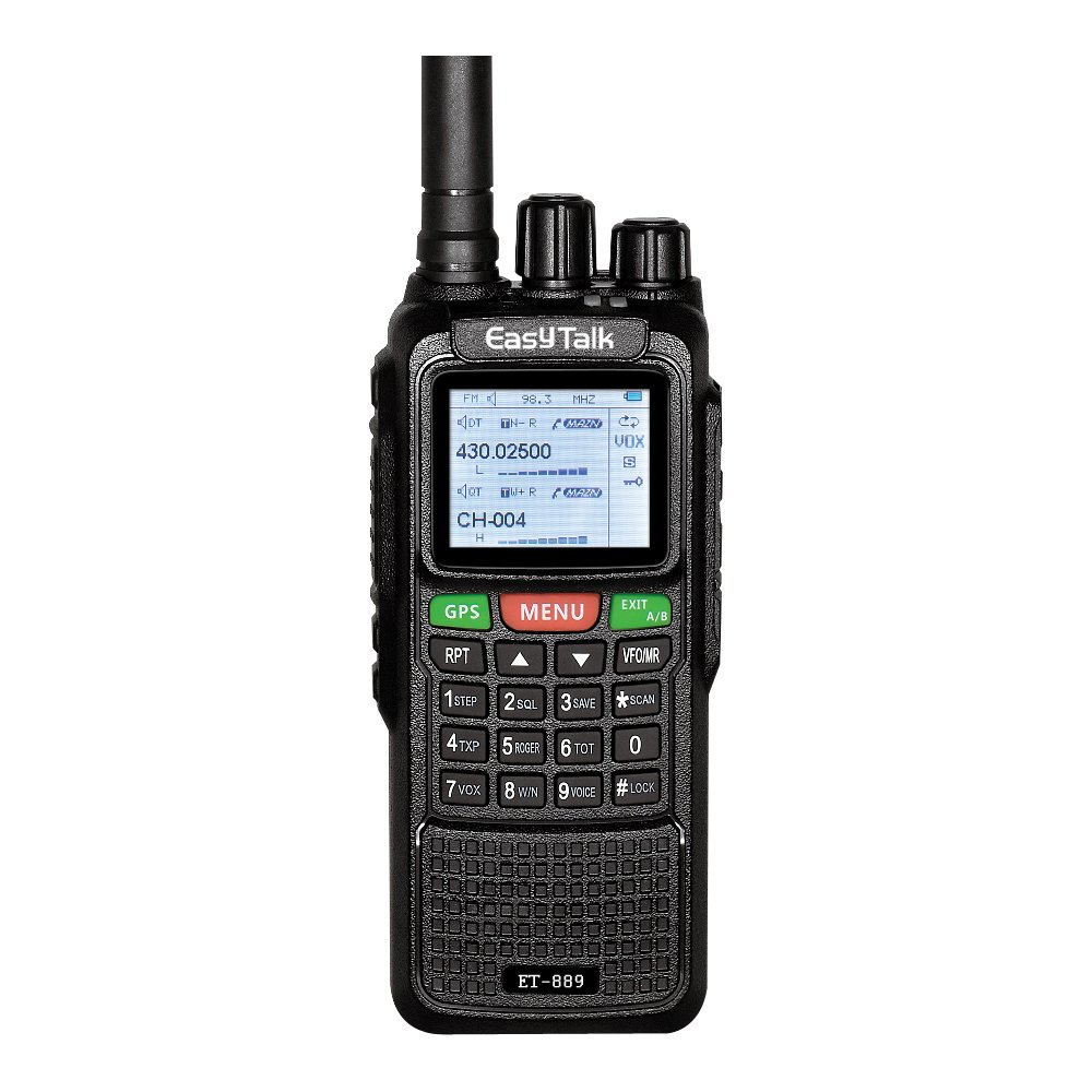 Ham Radio Walkie Talkie EasyTalk ET-889 10W GPS Dual Band VHF&UHF 136-174MHz/400-520MHz 999 channels vox Long Range 2-5 miles Two Way Radio Transceiver