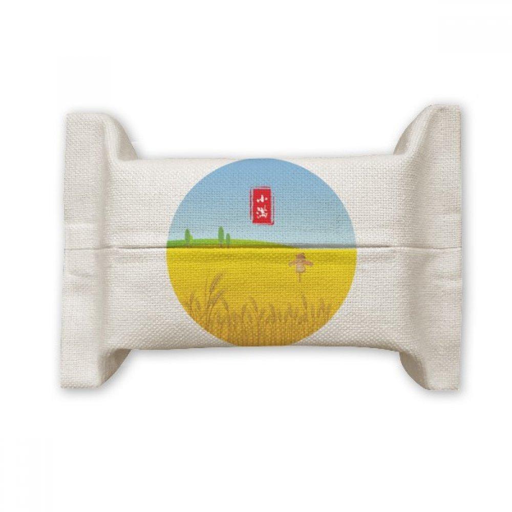 DIYthinker Circlar Grain Full Twenty Four Solar Term Cotton Linen Tissue Paper Cover Holder Storage Container Gift