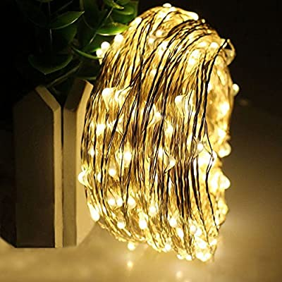 BIGWORTH 2PK Solar copper wire string light 120 LEDs warm white Decorative lights for party Christmas, Halloween, Wedding