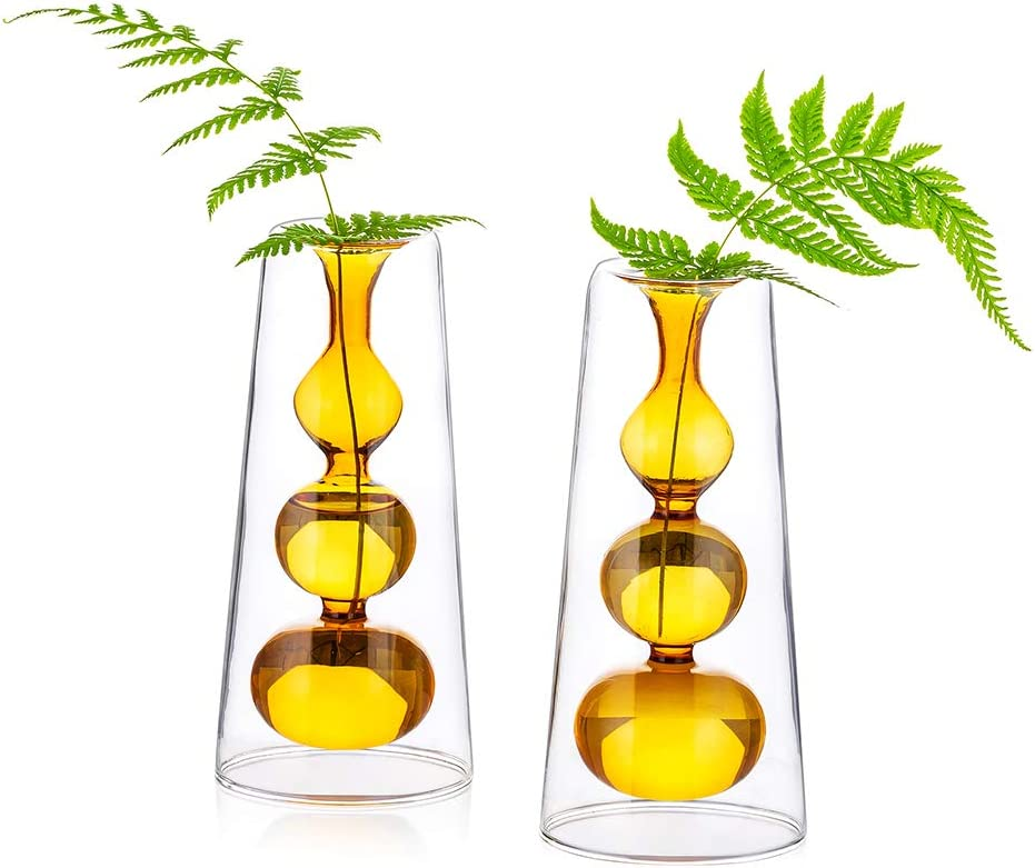 Colored Glass Bud Vase, Set of 2 Double Walled Glass Vase, Decorative Creative Crystal Decor Ideal for Tablescape at Weddings, Events, Parties, Floral Centerpieces, Light Brown