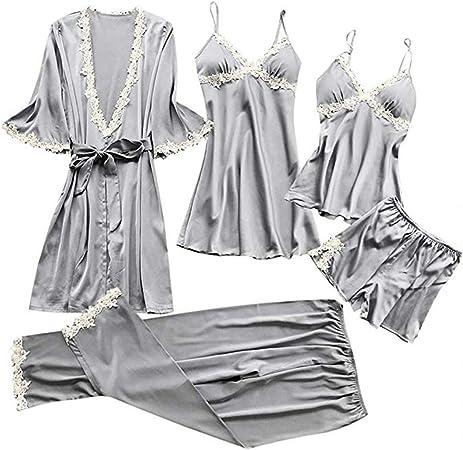 OLLOLCCY Pijama Mujer Verano Corto Raso Pijamas Saten Sexy 5 ...