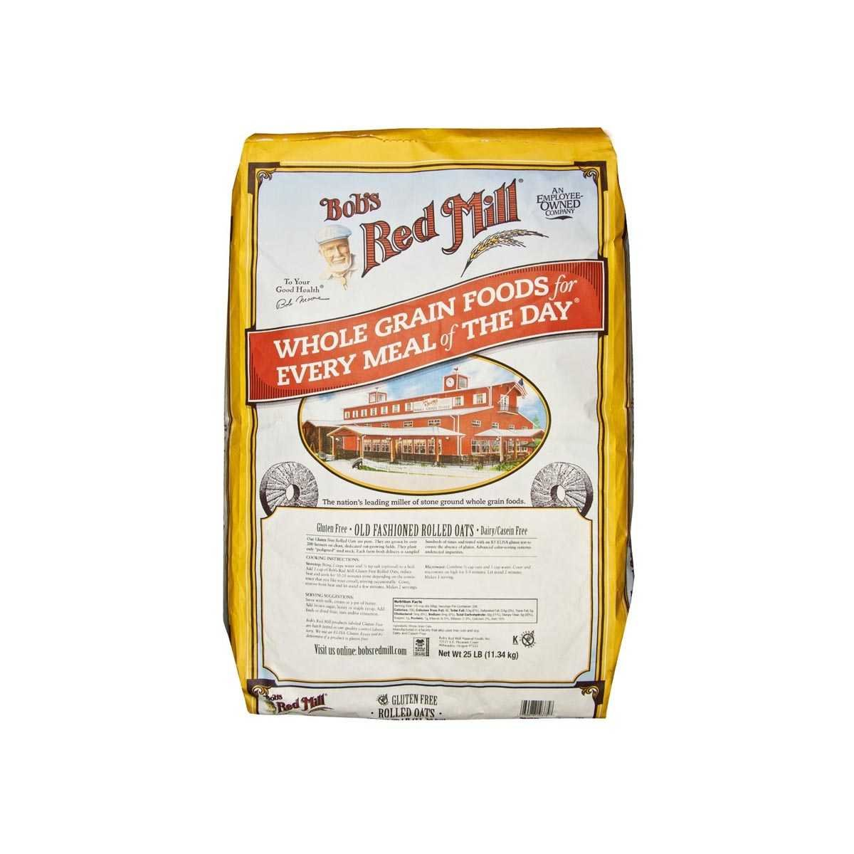 Bob's Red Mill Gluten Free Old Fashion Rolled Oats - 25 lb - Bulk Bag
