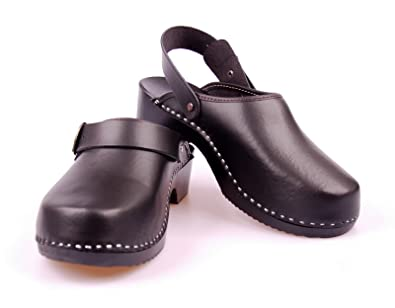 Mens Handmade Clogs Genuine Natural Leather Wooden Sole Orthopedic