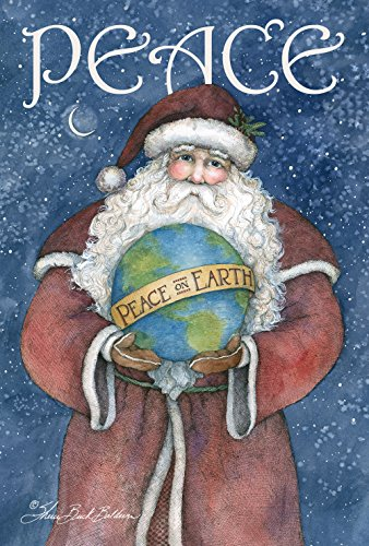 (Toland Home Garden Peace on Earth 12.5 x 18 Inch Decorative Christmas Holiday Santa Globe Garden Flag)