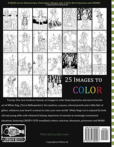 misfits a fairy coloring book for adults and odd children volume 4 white stag 9781537322407 amazoncom books - Fairy Coloring Books For Adults