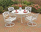 Home Styles 5552-305 Biscayne 5-Piece Dining Set with Round Table and Swivel Chair, White Finish