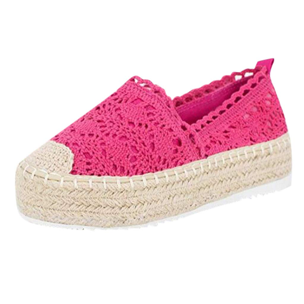Sanyyanlsy Women Casual Canvas Hollow-Out Breathable Shoes Espadrilles Platform Slip On Lace Cover Heel Round Toe Shoe Hot Pink by Sanyyanlsy