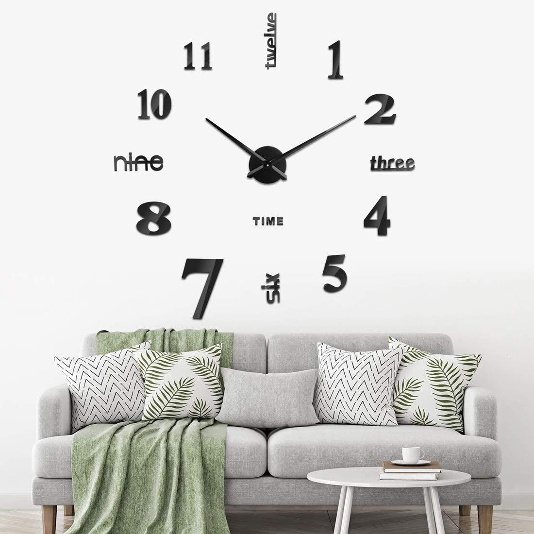 Noir Yolistar Modern DIY Grande Horloge Murale 3D Miroir Autocollant Metal Silencieuse Pendule Murale Pendule Murale Moderne M/étallique Horloge D/écorations de Bureau Domicile