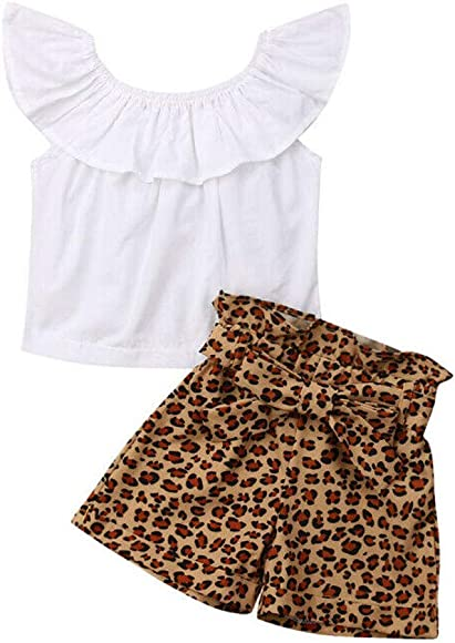 Baby Girls Clothes Ruffle Tops Long Sleeve Solid T-Shirt Sweatsuit Leopard Pants Clothes Outfits Set 1-6Years