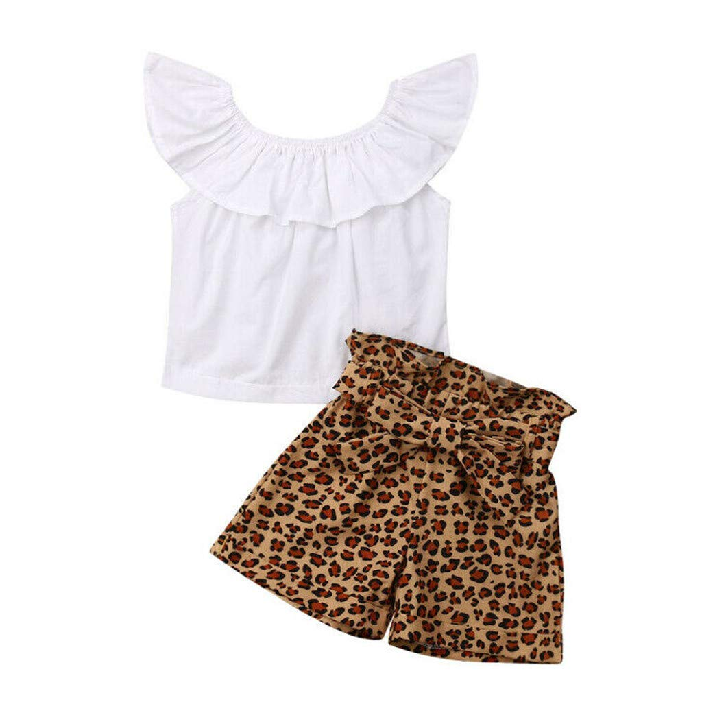 Baby Girl Off-Shoulder Sets, Kids Crop Top Ruffle Shirt Tops +Leopard Striped Shorts Pants Clothes Set (4-5 Years, Coffee)
