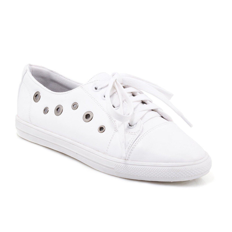 b6bbdc20301 Baqijian Women Flats Lace Up Round Toe Metal Footwear Girl Shoes Big Size