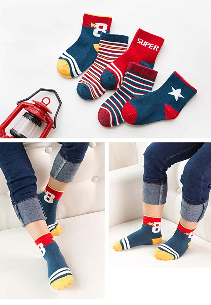 Best Gift for British Style Lovers 5 Packs Little Girls Boys Fashion Cotton Crew Seamless British Style Socks