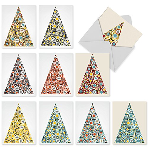 Groovy Christmas Tree - 10 Assorted 'Ornamentals' Blank Holiday Cards with Envelopes (4 x 5.12 Inch), Boxed Christmas Trees with Circles Cards, Lovely Triangular Trees Decorated with Zany, Circular Ornaments Cards M6014
