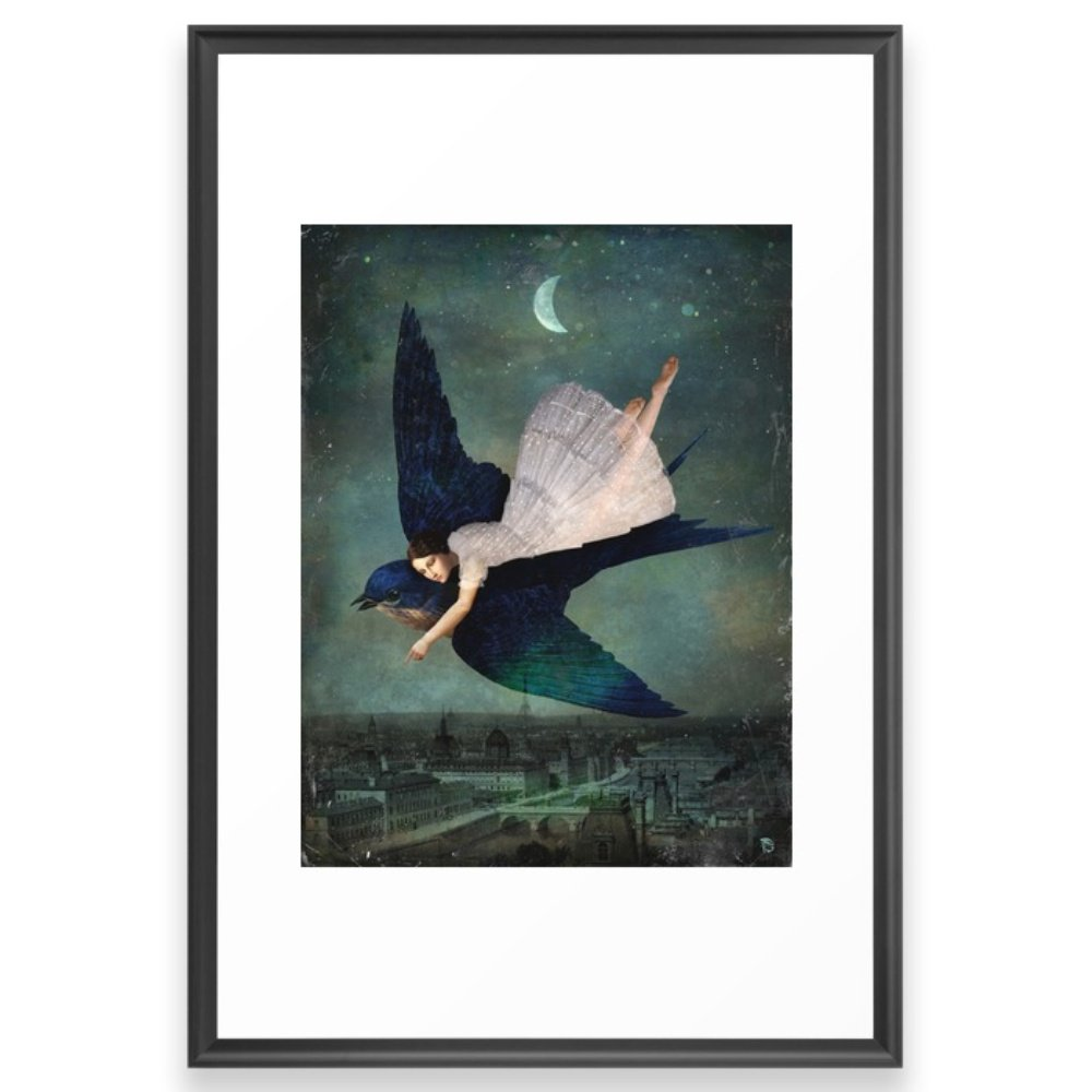 Society6 Fly Me To Paris Framed Print Scoop Black LARGE (Gallery) by Society6