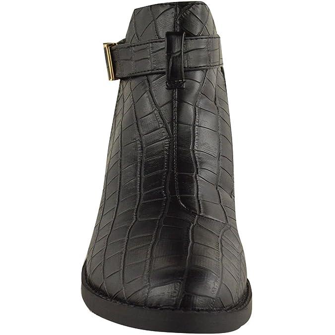 MUJER TACÓN BAJO CON CORREAS SIN CIERRES ABERTURAS BOTINES - Negro Cocodrilo Piel Sintética, Negro Cocodrilo Piel Sintética, 5 UK, 38: Amazon.es: Zapatos y ...